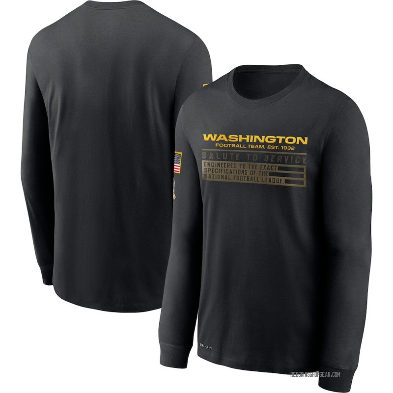 Men's Nike Washington Redskins Black 2020 Salute to Service Sideline Performance Long Sleeve T-Shirt -