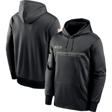 Men's Nike Washington Redskins Black 2020 Salute to Service Sideline Performance Pullover Hoodie -