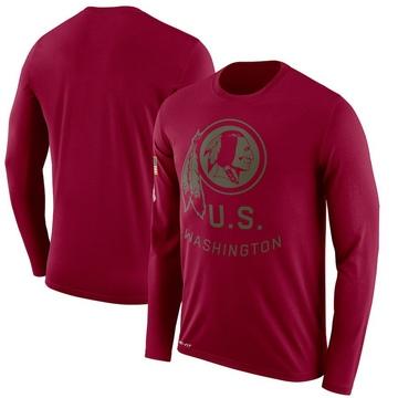 Men's Nike Washington Redskins Burgundy 2018 Salute to Service Sideline Performance Long Sleeve T-Shirt - Legend