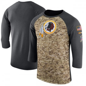 Men's Washington Redskins Camo /Anthracite Salute to Service 2017 Sideline Performance Three-Quarter Sleeve T-Shirt - Legen