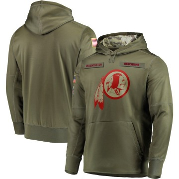 Men's Washington Redskins Olive 2018 Salute to Service Sideline Therma Performance Pullover Hoodie -