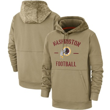 Men's Nike Washington Redskins Tan 2019 Salute to Service Sideline Therma Pullover Hoodie -