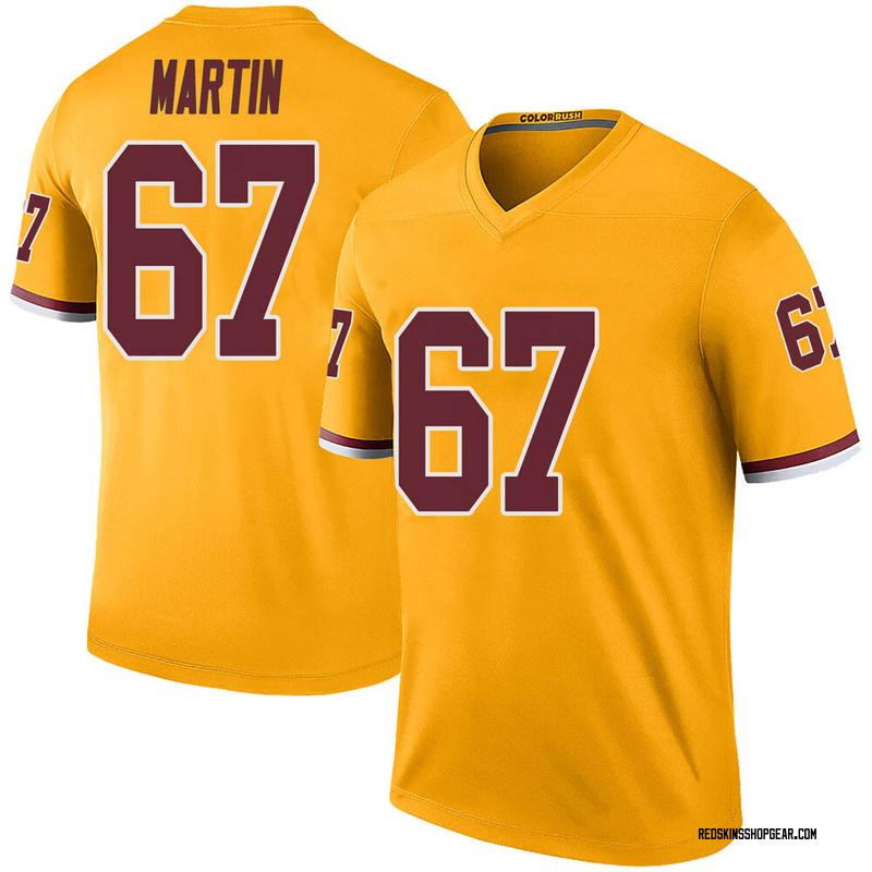 Men's Nike Washington Redskins Wes Martin Gold Color Rush Jersey - Legend