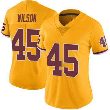 Women's Nike Washington Redskins Caleb Wilson Gold Color Rush Jersey - Limited