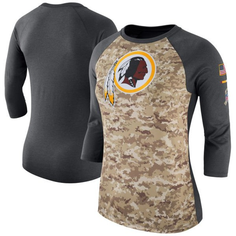 Women's Nike Washington Redskins Camo /Charcoal Salute to Service 2017 Three-Quarter Raglan Sleeve T-Shirt - Legend