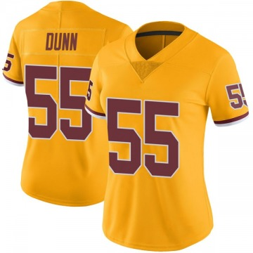 Women's Nike Washington Redskins Casey Dunn Gold Color Rush Jersey - Limited