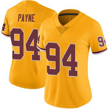 Women's Nike Washington Redskins Daron Payne Gold Color Rush Jersey - Limited