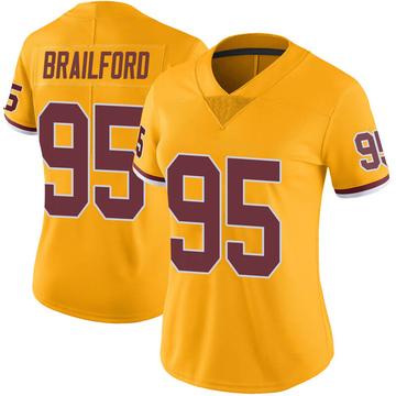 Women's Nike Washington Redskins Jordan Brailford Gold Color Rush Jersey - Limited