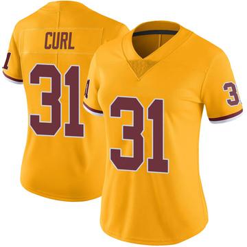 Women's Nike Washington Redskins Kamren Curl Gold Color Rush Jersey - Limited