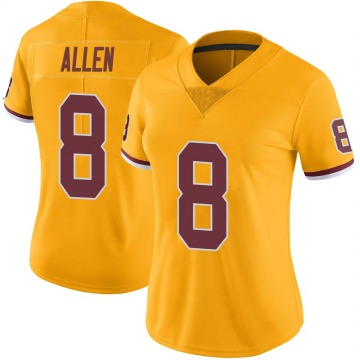 Women's Nike Washington Redskins Kyle Allen Gold Color Rush Jersey - Limited