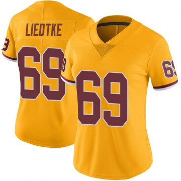 Women's Nike Washington Redskins Michael Liedtke Gold Color Rush Jersey - Limited