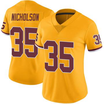 Women's Nike Washington Redskins Montae Nicholson Gold Color Rush Jersey - Limited