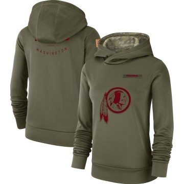 Women's Washington Redskins Olive 2018 Salute to Service Team Logo Performance Pullover Hoodie -