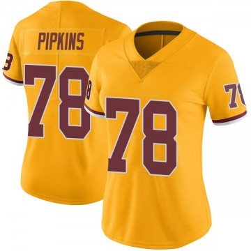 Women's Nike Washington Redskins Ondre Pipkins Gold Color Rush Jersey - Limited