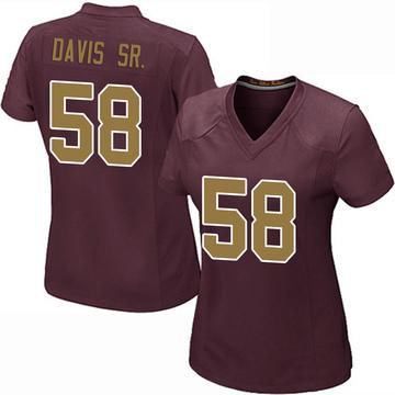 Women's Nike Washington Redskins Thomas Davis Burgundy Alternate Jersey - Game