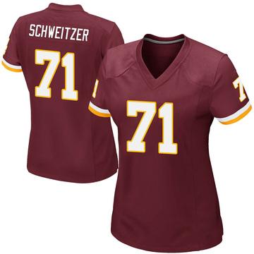 Women's Nike Washington Redskins Wes Schweitzer Burgundy Team Color Jersey - Game