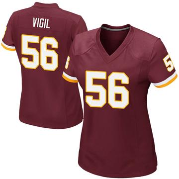 Women's Nike Washington Redskins Zach Vigil Burgundy Team Color Jersey - Game