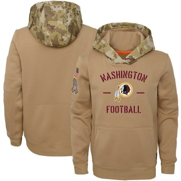 Youth Nike Washington Redskins Khaki 2019 Salute to Service Therma Pullover Hoodie -
