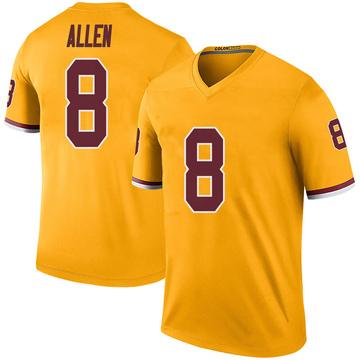 Youth Nike Washington Redskins Kyle Allen Gold Color Rush Jersey - Legend