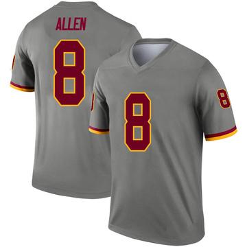 Youth Nike Washington Redskins Kyle Allen Gray Inverted Jersey - Legend